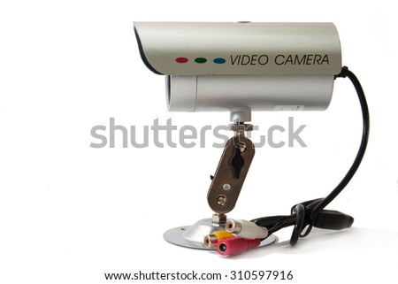 Side view of cctv camera for video surveillance. - stock photo
