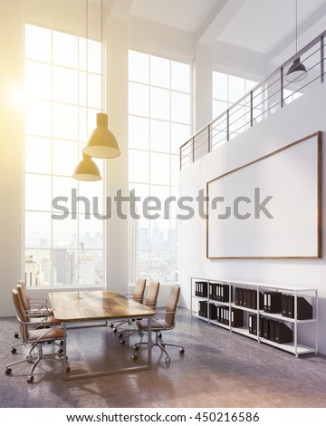 Side view of conference room interior with blank whiteboard, sunlight and New York city view. Mock up, 3D Rendering - stock photo