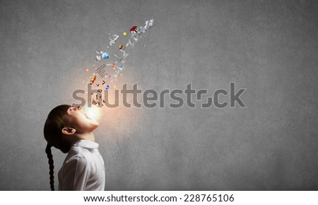 Side view of cute screaming girl and flying icons - stock photo