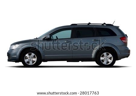 Side view of dark-blue crossover isolated on white - stock photo