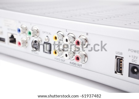 Side view of device with audio visual connectors - stock photo