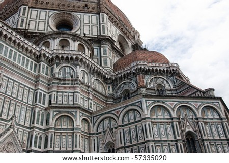 Side view of Duomo cathedral in Florence.