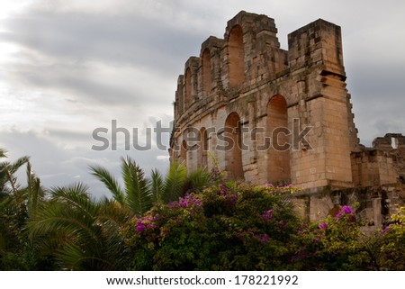 Side view of El Djem amphitheater, Tunisia - stock photo