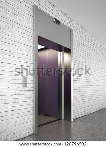 Side view of elevator with opened doors - stock photo
