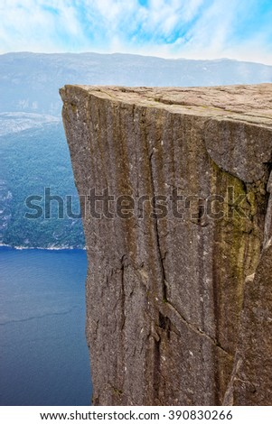 Side view of famous Pulpit Rock above Lysefjord in Norway. - stock photo