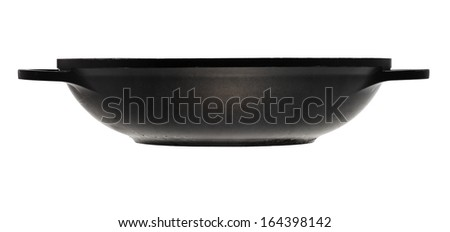 side view of flatter-bottomed karahi pan isolated on white background - stock photo