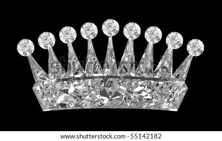 Side view of gemstone crown over black. Other gems are in my portfolio. - stock photo
