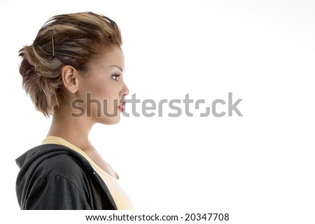 side view of glamorous female on an isolated background - stock photo