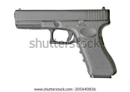 side view of handgun on pure white background - stock photo