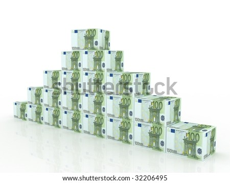 side view of heap of euro boxes on an isolated background - stock photo