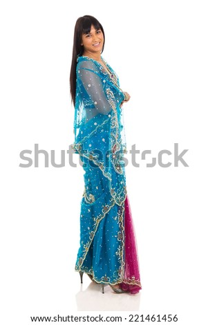 side view of indian woman in traditional clothing on white background - stock photo