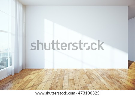 Side View Of Interior With Wooden Floor, Blank Concrete Wall, Window With  City View