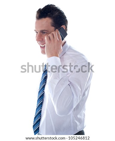 Side view of manager attending phone call isolated against white background - stock photo