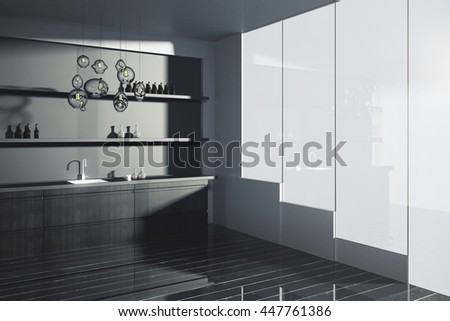 Side view of modern kitchen interior with sink, items on shelves, dark plank floor and window with no view. 3D Rendering - stock photo
