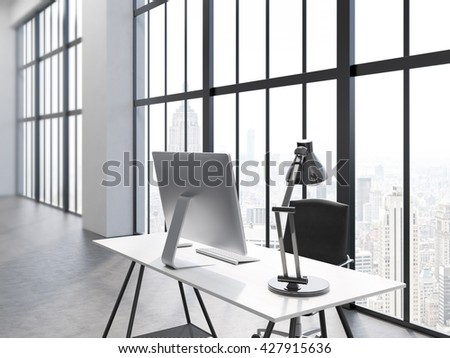 Side view of office interior with computer monitor and lamp on desk, chair, concrete floor and window with New York city view. 3D Rendering - stock photo