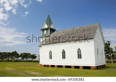 Side View of Old Country Church - stock photo