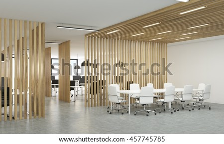 wood office partitions. Side View Of Open Office Interior With Wooden Partitions, Concrete Floor And Meeting Area. Wood Partitions
