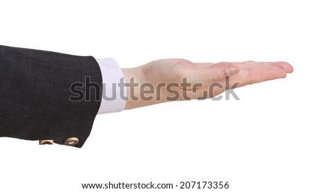 side view of open palm - hand gesture isolated on white background