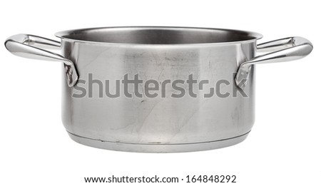 side view of open small stainless steel pan isolated on white background