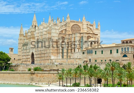 Side view of Palma de Majorca Cathedral, Balearic Islands, Spain. - stock photo