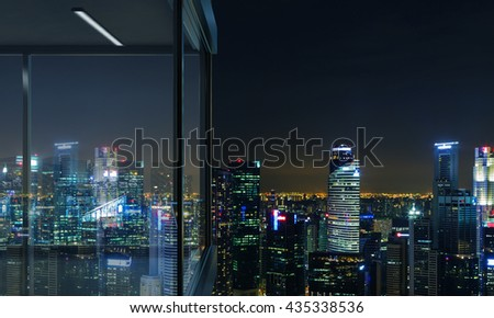 Side view of panoramic balcony design with illuminated Singapore city view at night. 3D Rendering