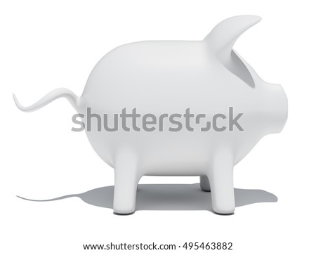 Side view of piggy bank isolated on white background. 3D rendering