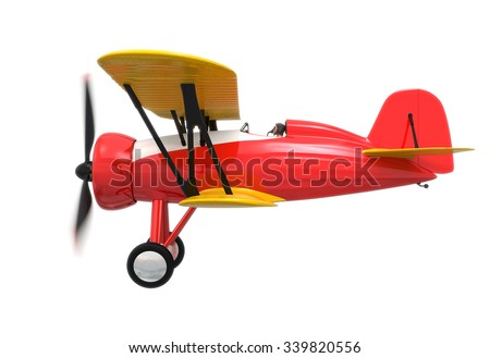 Side view of red and yellow biplane isolated on white background. Clipping path available. - stock photo