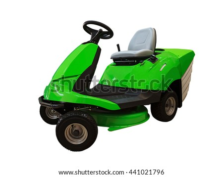 Side view of riding lawn mower tractor isolated on white background - stock photo