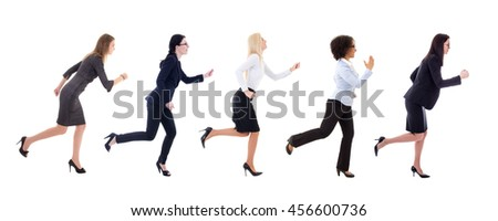 side view of running business women isolated on white background