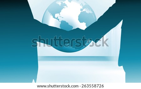 Side view of shaking hands against planet on grey abstract background - stock photo