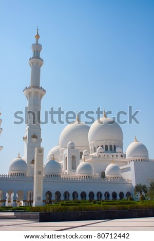 Side view of Sheikh Zayed mosque in Abu Dhabi. The third biggest mosque in the world. - stock photo