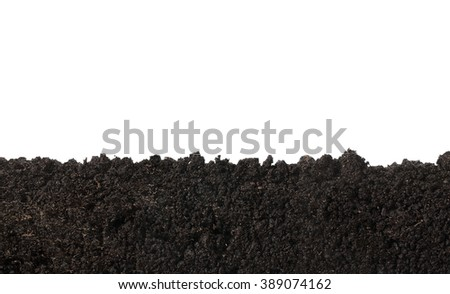 Side view of soil surface, texture isolated on white background