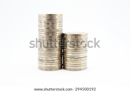 Side view of stacks of coins