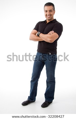side view of standing man with crossed arms on white background - stock photo