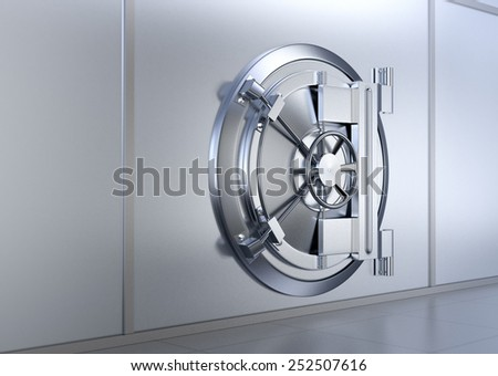 side view of the door of a bank vault (3d render) - stock photo