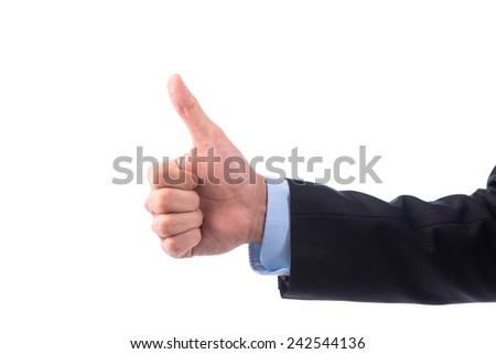 side view of thumbs up sign - hand gesture isolated on white background. Successful business man concept. - stock photo