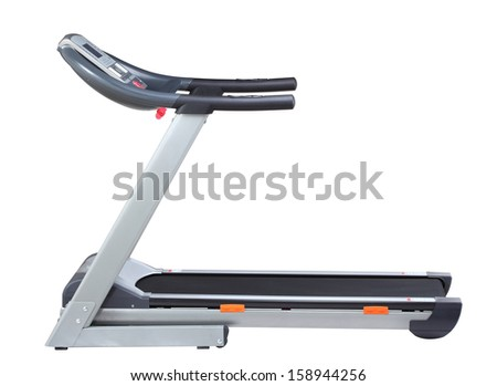 Side view of treadmill isolated on white background - stock photo