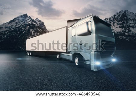 Side view of truck with blank trailer. Mountains in the background. Mock up, 3D Rendering