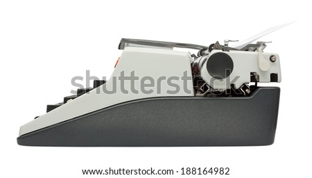 Side view of typewriter isolated on white background with clipping path - stock photo