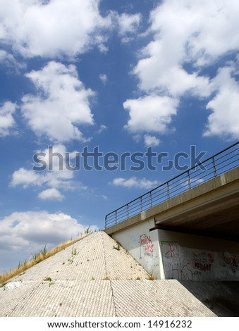 Side view of urban highway viaducts - stock photo