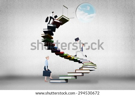 Side view of walking tradesman with jacket and suitcase against steps made out of books with open door - stock photo