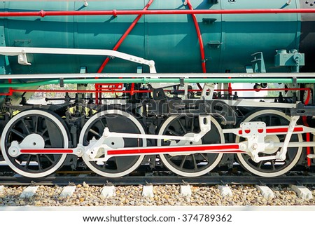 side view of wheel of train  - stock photo