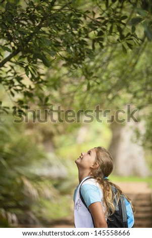 Side view of young girl looking up at tree in forest - stock photo