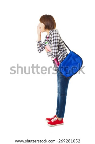 side view of Young  student talking  - stock photo