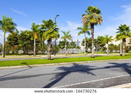 Side View On Asphalt Street  - stock photo