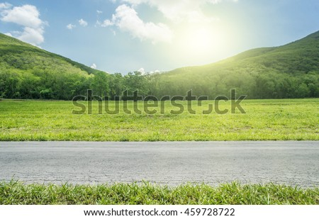 Side View on Country Road whit mountain.