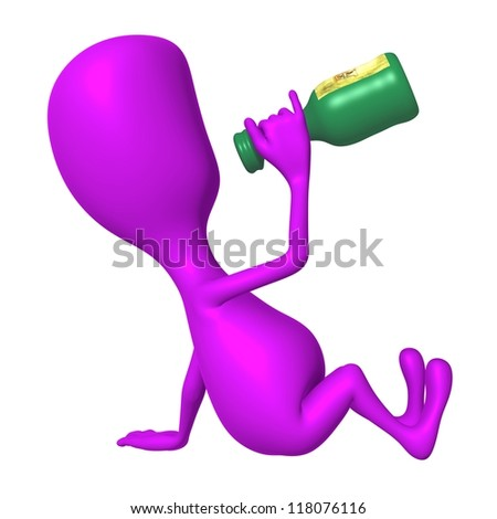 Side view pink puppet drinking from rum bottle - stock photo