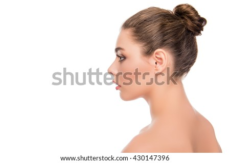 Side view portrait of relaxed calm young woman - stock photo
