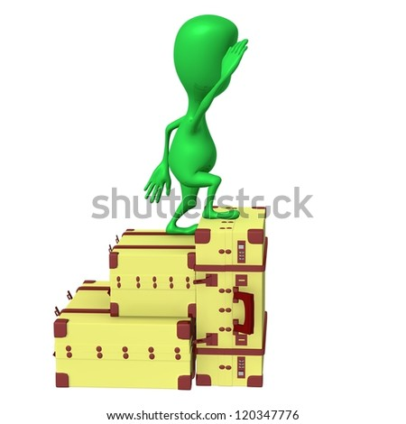 Side view puppet looking at horizon from suitcases - stock photo
