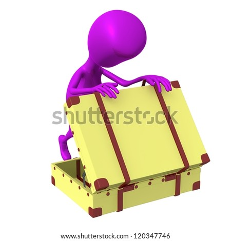 Side view puppet looking in squary suitcase dumply - stock photo